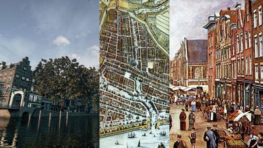 Rotterdam als reconstructie door Archeo3D en een kaart en prent van Rotterdam tijdens de 17e eeuw (Rijksmuseum).