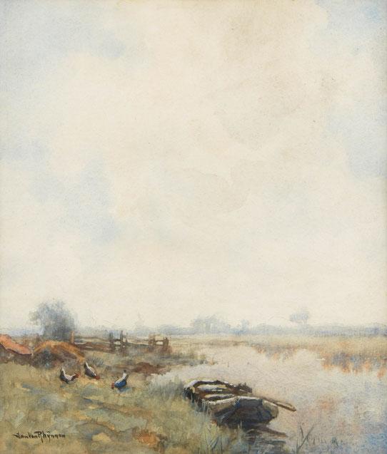 te_koop_aangeboden_een_aquarel_van_jan_van_rhijnnen_1859-1927_nabloei_haagse_school
