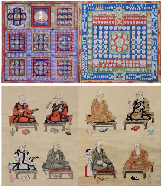両界曼荼羅と八祖が描かれた掛軸です