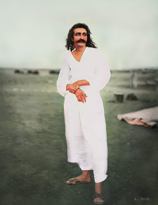 1927-8 : Meher Baba at Meherabad, India. Image colourized by Anthony Zois.