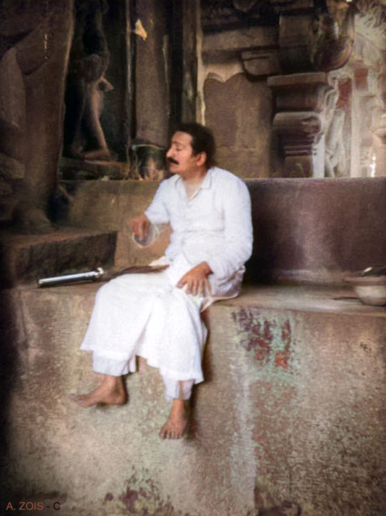 14. Meher Baba at the Ellora Caves in the mid 1930s.