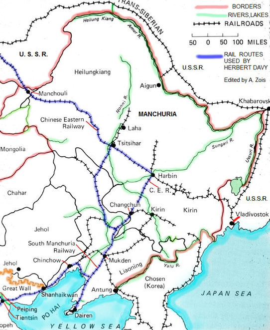 The train routes in Northern China & Russia