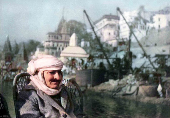 4. Meher Baba on a boatride on the Ganges River, Benares, Jan. 17, 1939.