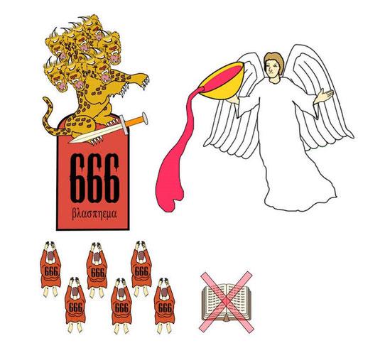 Une troisième ange déclare d'une voix forte que si quelqu'un porte allégeance à la bête et à son image en acceptant la marque sur le front ou sur la main, il devra subir la colère de Dieu.