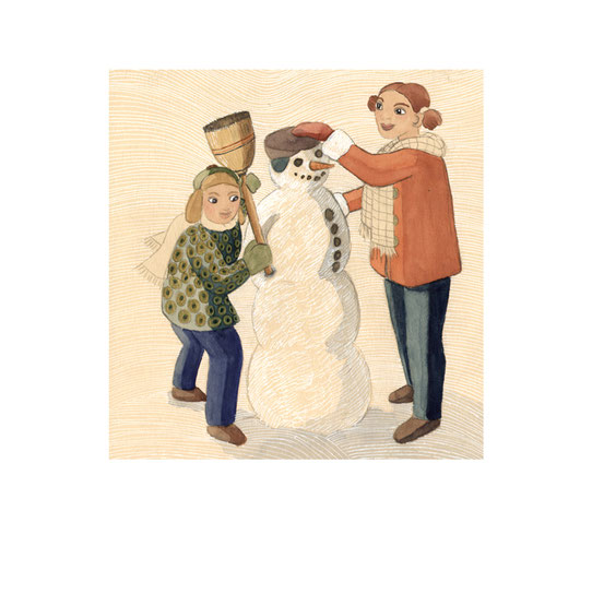 Illustration, Comics, lustig, witzig, Kinderbuch, Schneemann bauen, Knabe, Mädchen, Bruder, Schwester, Winter, Schnee