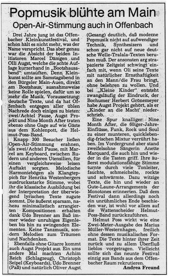 Bericht der Offenbach Post vom 18.06.1986