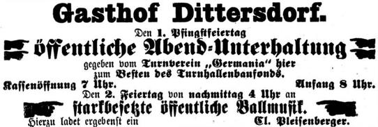 Anzeige im Zschopauer Wochenblatt Pfingsten 1910