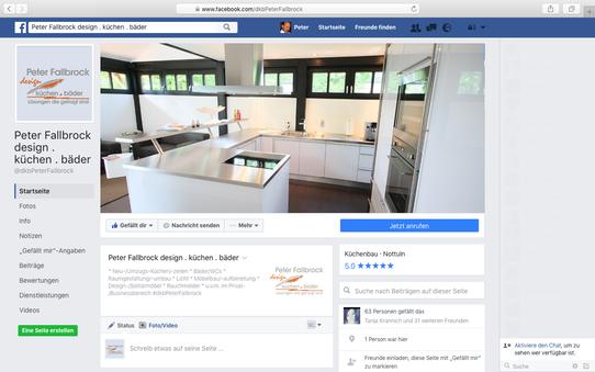 """Kurzer Ausblick auf Facebook-Auftritt """"Peter Fallbrock design . küchen . bäder"""""""