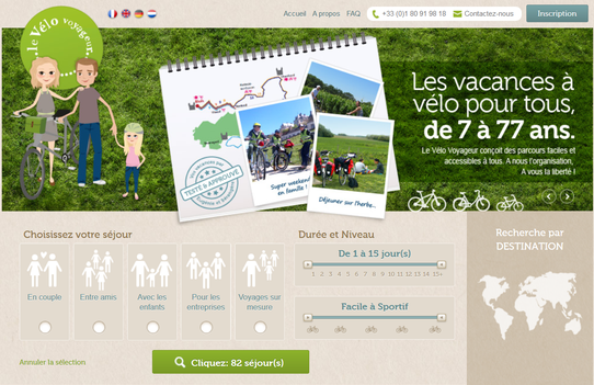 Capture Ecran du site : Le Vélo Voyageur
