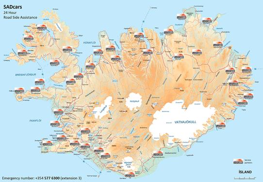 Source ; SadCars. Réseau de garages en Islande avec qui Sadcars et Locals sont associés