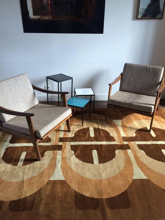 tapis vintage, tapis 70's, tapis psychédélique