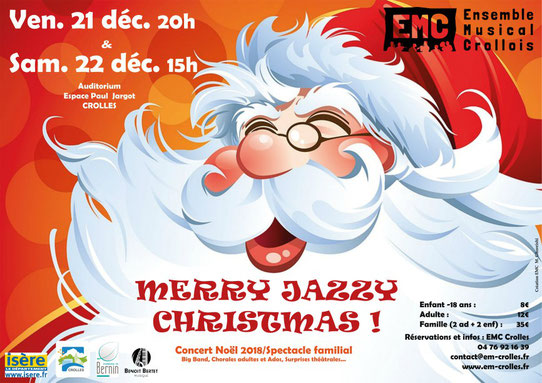 Affiche concert Merry Jazzy Christmas, Crolles, EMC, Espace Paul Jargot
