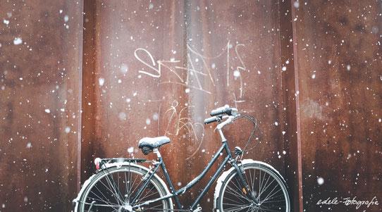 Spontanes Fahrrad-Schnee Shooting im Schloßgarten Karlsruhe