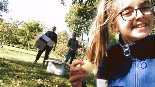 Julia mit den anderen Praktikantinnen beim Fallobst sammeln (Foto: Julia)