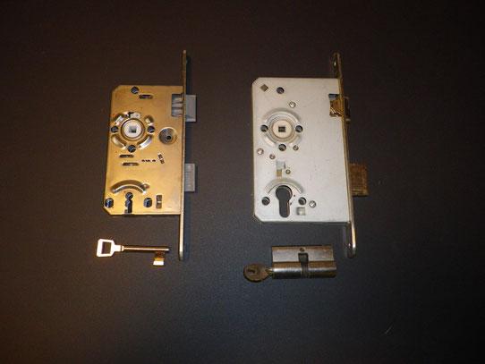 links =einfaches türschloss  ,                                               rechts=türschloss mit profilzylinder