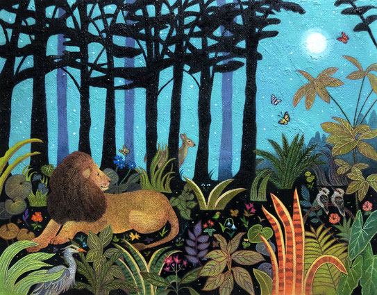 タイトル:「眠れる獅子」  サイズ:F6号  技法:雲母壁面画