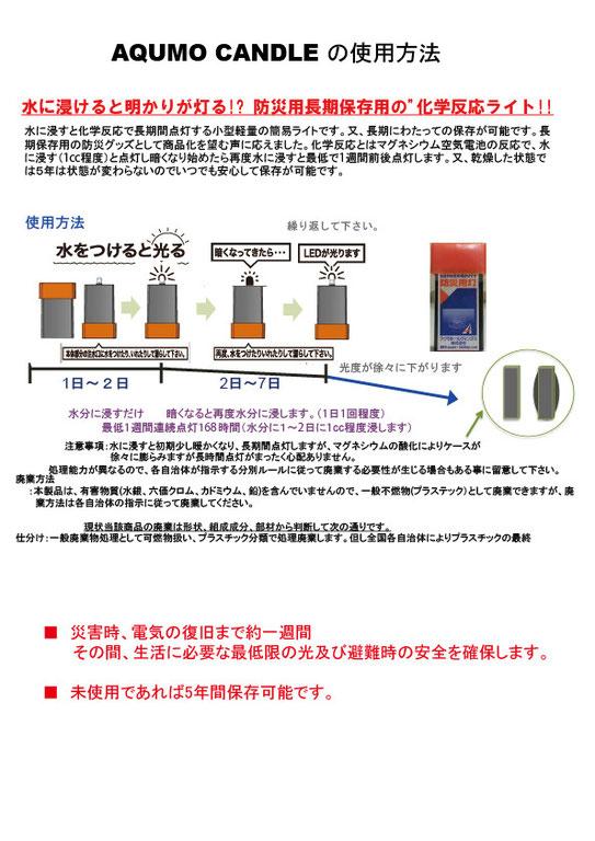 AQUMO CANDLE(アクモキャンドル)の使用方法