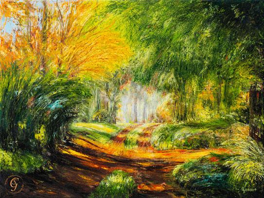 Zauberwald dynamisch , 80x60 cm , Öl auf Leinwand