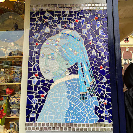 Girl with a Pearl Earring Delft Blue mosaic
