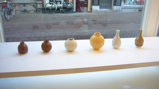 Miniature pot #14, #4, #5, #18, #11, #10 (left to right)/ Porcelain or stoneware, original glaze , (+/-) H:4x ø3.5cm