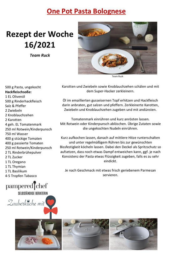 One Pot Pasta, Gusseisentopf, Pampered Chef, Rezepte Blog