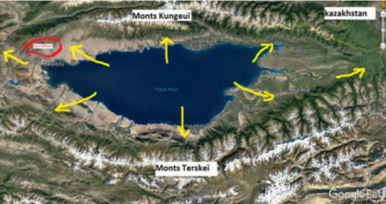 Carte des brises de la région du lac Issyk Kool