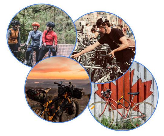 Jeunes femme à vélo de course, cycliste qui gare son vélo, bikepacking et vélo devant le drapeau canadien