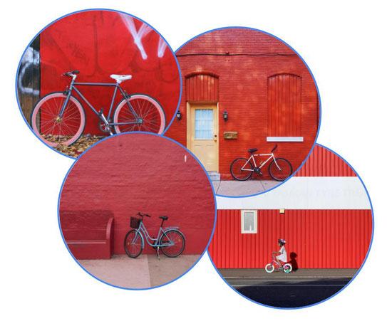 vélo fixi, vélo de ville et vélo pour enfant sur mur rouge