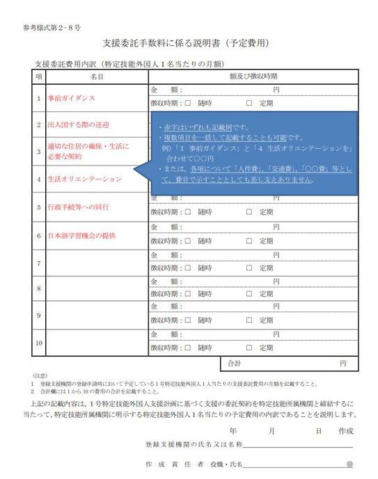 支援委託手数料に係る説明書(予定費用)記載例(参考様式2-8号)