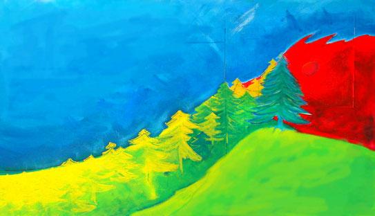 @ateliereifach.ch-Kunstbild-Kunstkarten-Tiere-Weideland-grün-rot