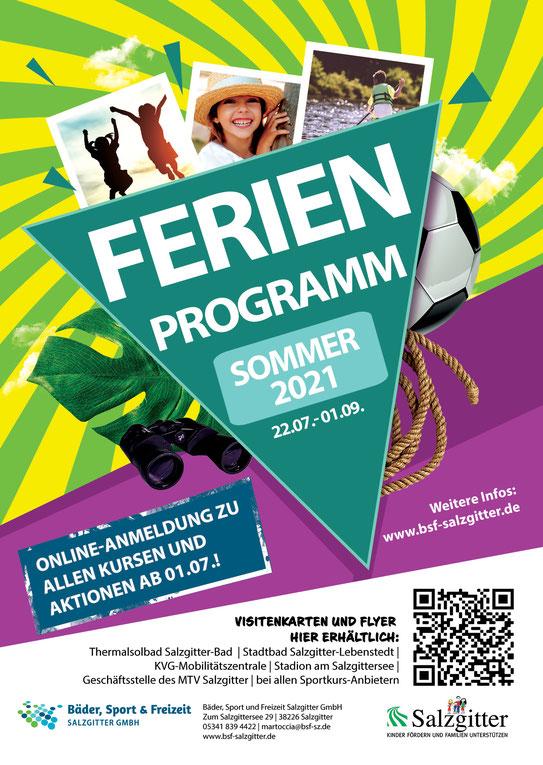 Ferienprogramm Salzgitter 2021 Plakat, antippen zur Programmwebsite