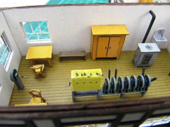 (c) W. Fehse - Arbeitsplatz des Stellwerkswärters aus Karton