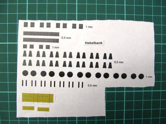 (c) W. Fehse - Modellbogen mit Hebelbank als zentrales Stellwerkselement, hier Stellwerk Waldheim