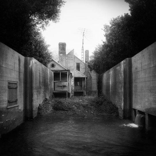 Jim Kazanjian photomontage surrealism black and white affordable backyard