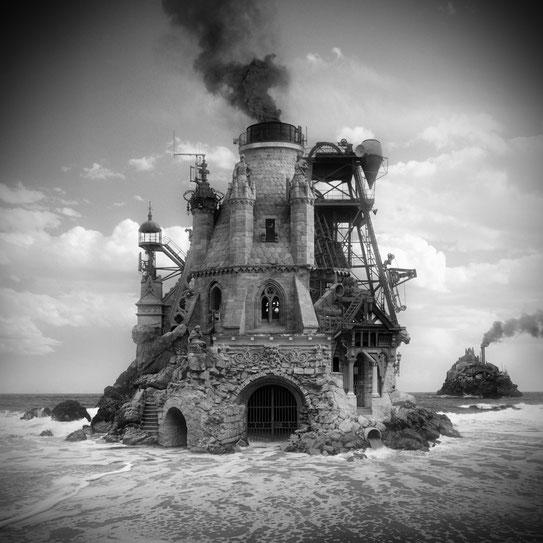 Jim Kazanjian photomontage surrealism black and white affordable temple