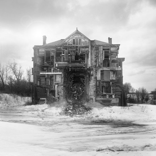 Jim Kazanjian photomontage surrealism black and white affordable facade