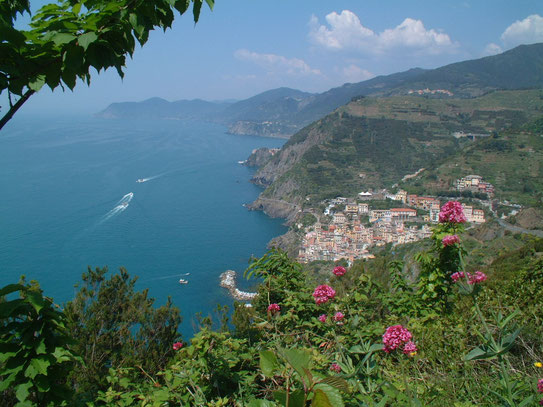 Uitzicht op een groot deel van de kustlijn van de Riviera di Levante dat zich uitstrekt van Monterosso al Mare tot Riomaggiore. De dorpengroep van Cinque Terre.