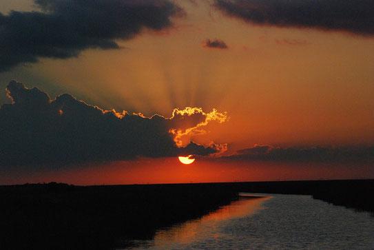 Ondergaande zon in het Everglades National Park. Een moeras (550000 ha.) en een prachtig leefgebied voor veel verschillende dieren.