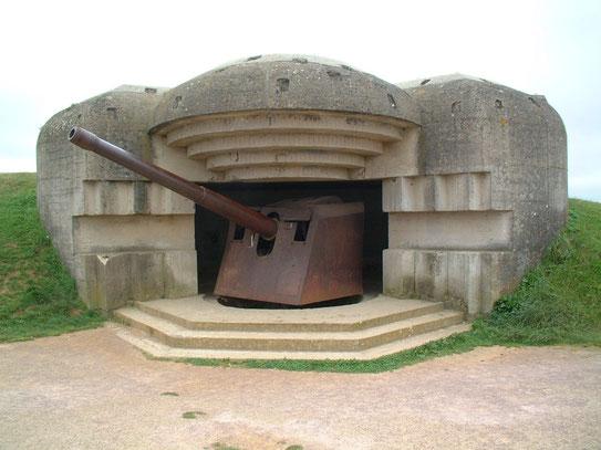 Een van de marine geschutskoepels van de batterij bij Longues-sur-Mer gelegen tussen Omaha en Gold beach.