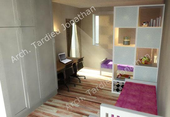 Vista 3d piano primo - camera da letto doppia
