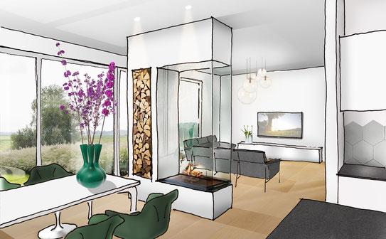 Vorgefertigter Holzbau | Visualisierung Innenraum