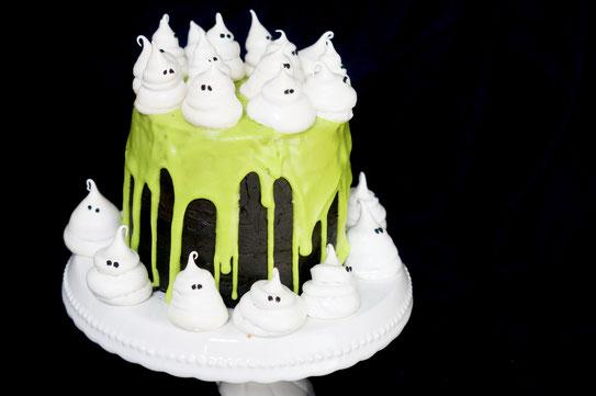 Halloween Bakery black Velvet Ghost Cake
