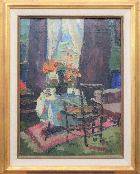 te_koop_aangeboden_een_schilderij_met_huis_interieur_van_de_kunstschilder_toon_kelder_1894-1973_bergense_school