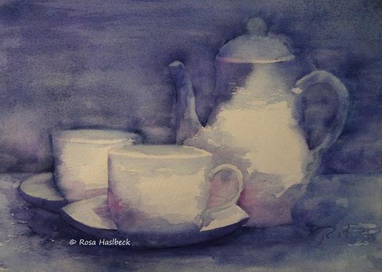 Stillleben blau weiß, aquarell, stilllebenaquarell, malen, bild, kunst, dekoration, malen, wandbild, handgemalt