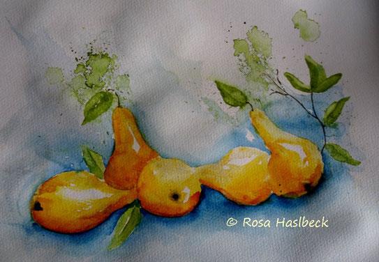 aquarell, stillleben, birnen, herbst, bild, kunst, kaufen, kunst kaufen, malen