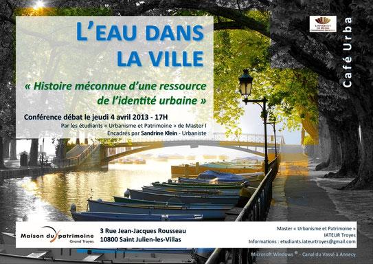 Maison du Patrimoine de Saint Julien les Villas conférence  L'eau dans la ville
