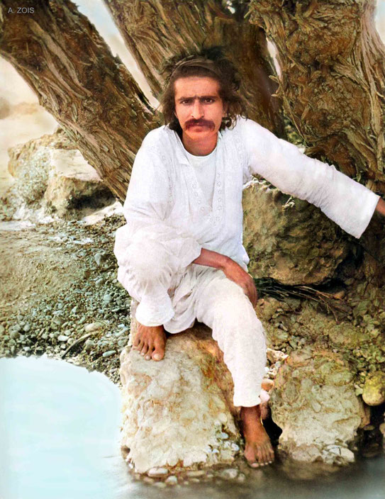 1923 : Meher Baba at the Urak mountain stream, near Quetta.  Image colourized by Anthony Zois