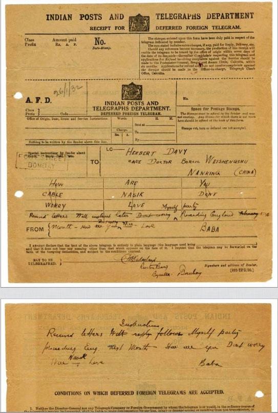 Telegram from Meher Baba to Herbert Davy - 26th Jan. 1932