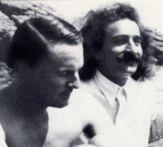 Meher Baba with Herbert Davy at Santa Margherita beach  in 1932. Cropped image by A. Zois