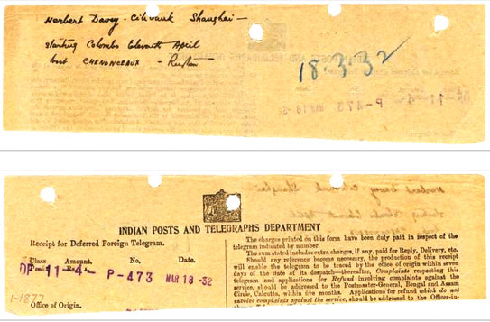 Telegram from Rustom K. Irani to Herbert Davy on 18th March 1932 .Baba's men Mandali travelling to China.